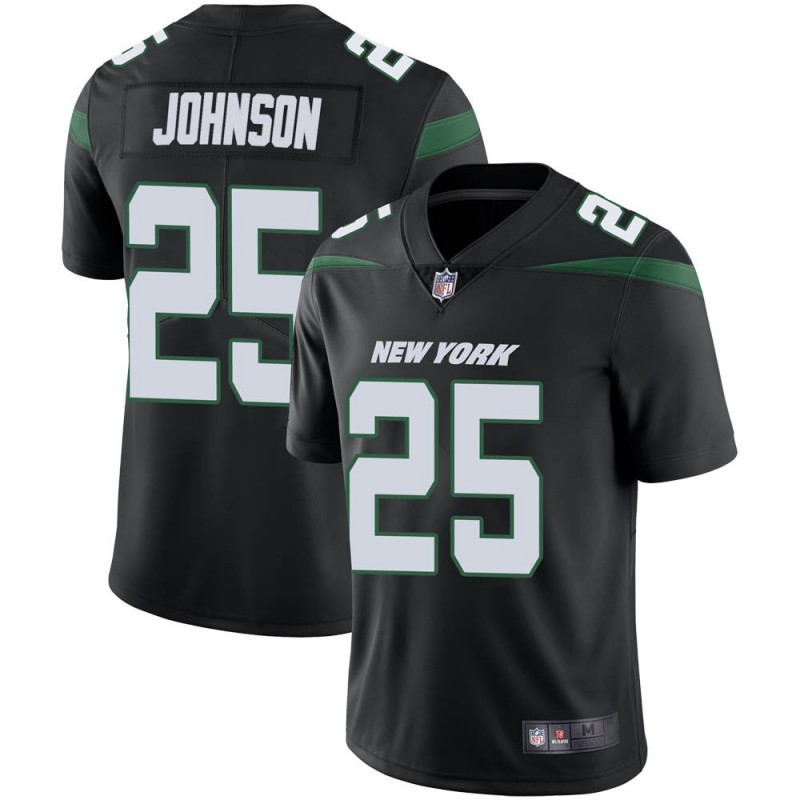 Men's New York Jets #25 Ty Johnson Black Vapor Untouchable Limited Stitched Jersey