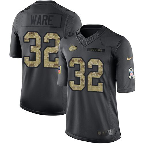 Nike Chiefs #32 Spencer Ware Black Men's Stitched NFL Limited 2016 Salute to Service Jersey