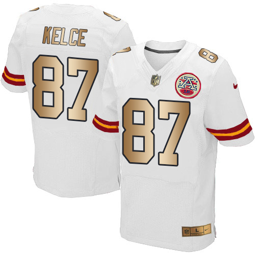 Nike Chiefs #87 Travis Kelce White Men's Stitched NFL Elite Gold Jersey