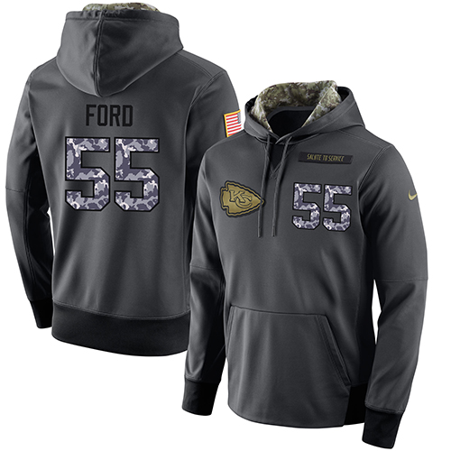 NFL Men's Nike Kansas City Chiefs #55 Dee Ford Stitched Black Anthracite Salute to Service Player Performance Hoodie