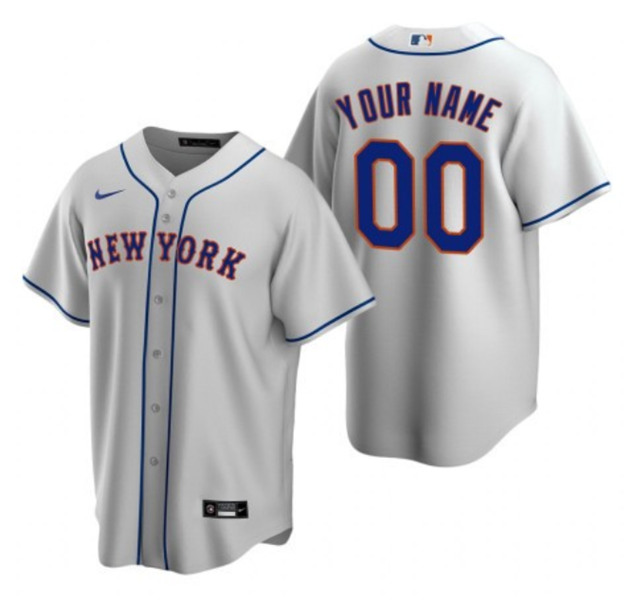 Men's New York Mets ACTIVE PLAYER Grey Custom Stitched MLB Jersey