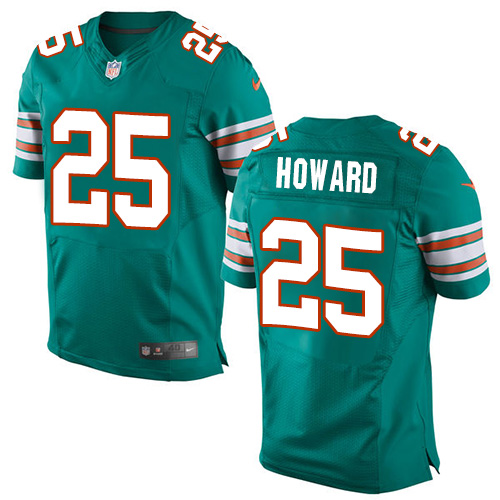 Nike Dolphins #25 Xavien Howard Aqua Green Alternate Men's Stitched NFL Elite Jersey