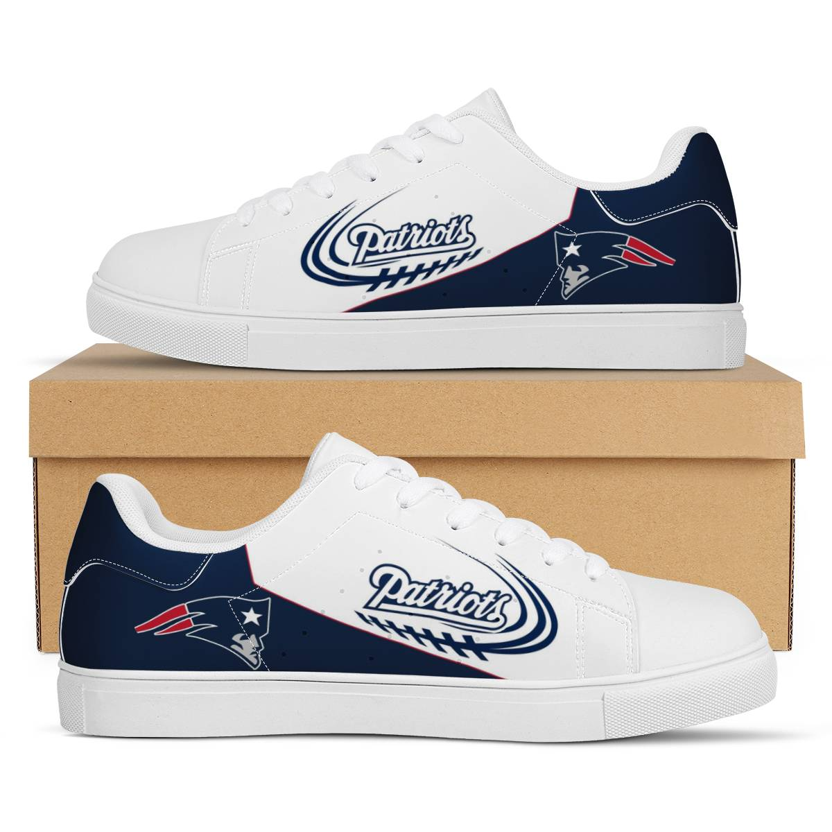 Men's New England Patriots Low Top Leather Sneakers 003