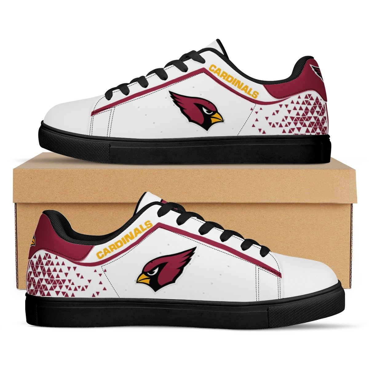 Men's Arizona Cardinals Low Top Leather Sneakers 001