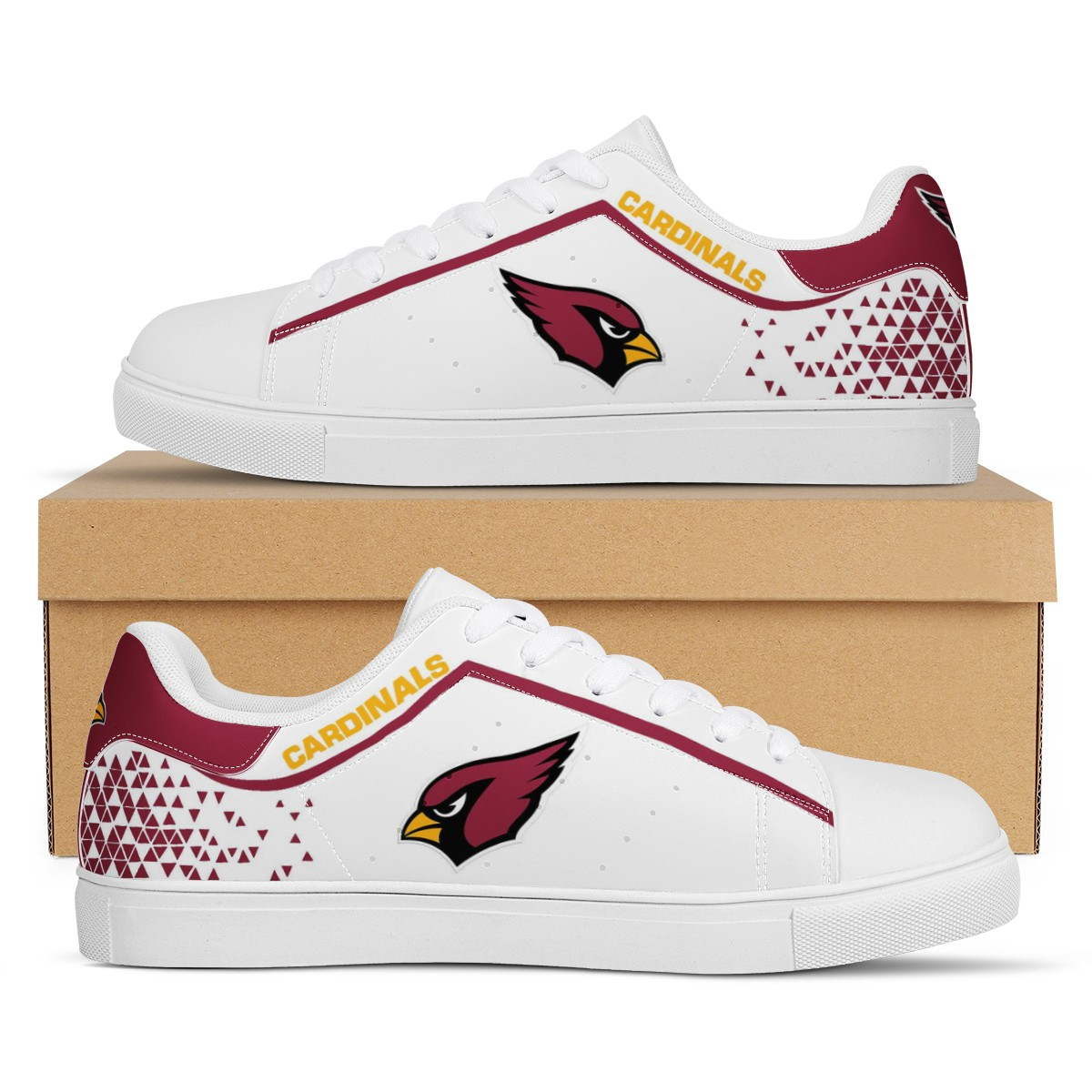 Men's Arizona Cardinals Low Top Leather Sneakers 003