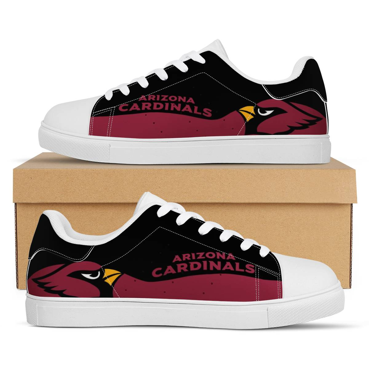 Men's Arizona Cardinals Low Top Leather Sneakers 002