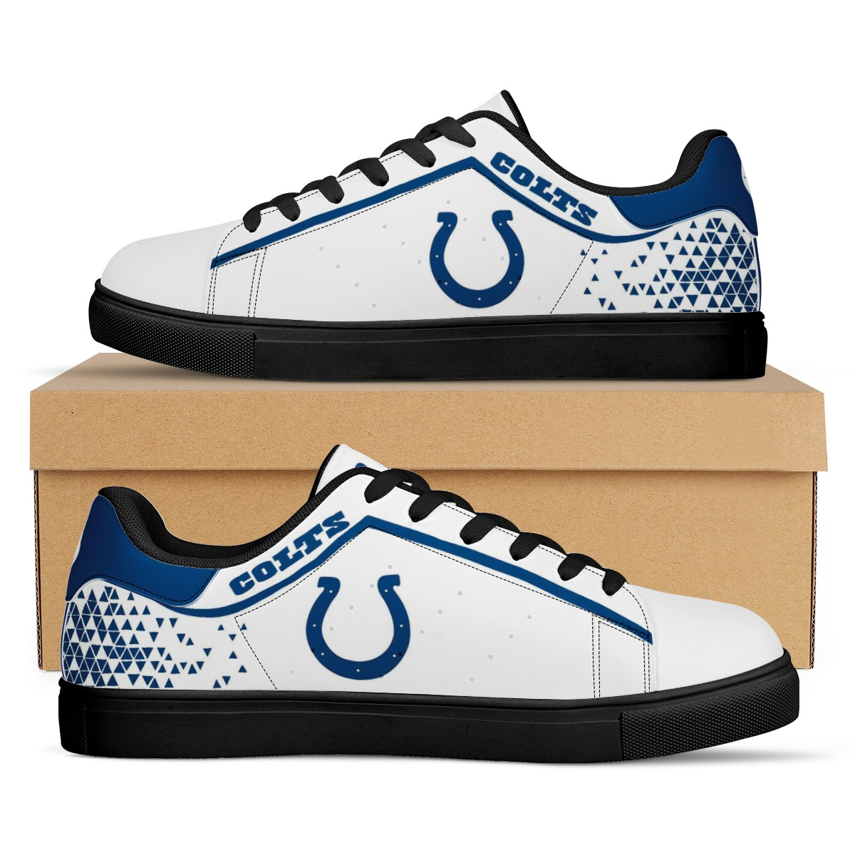 Men's Indianapolis Colts Low Top Leather Sneakers 001