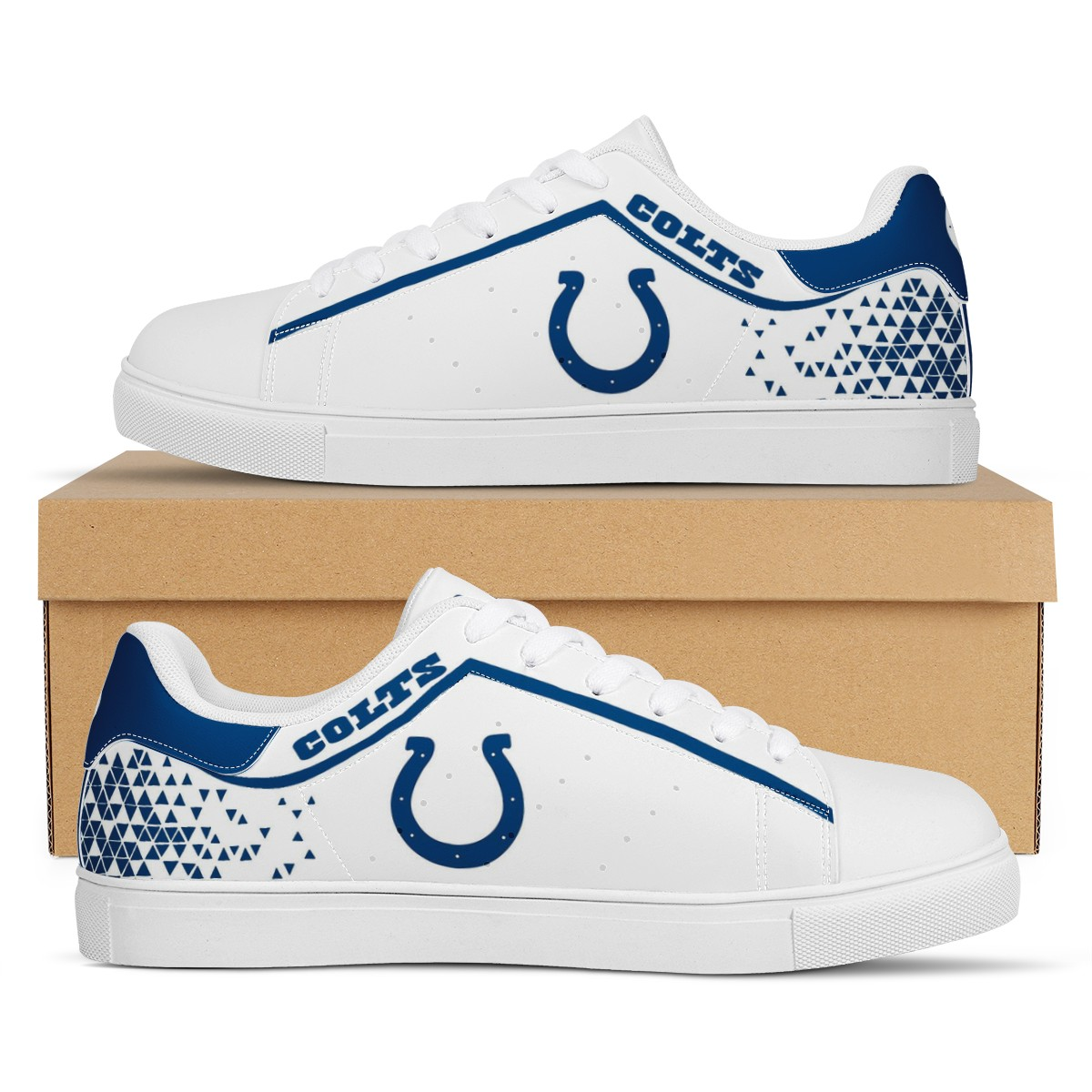 Men's Indianapolis Colts Low Top Leather Sneakers 002
