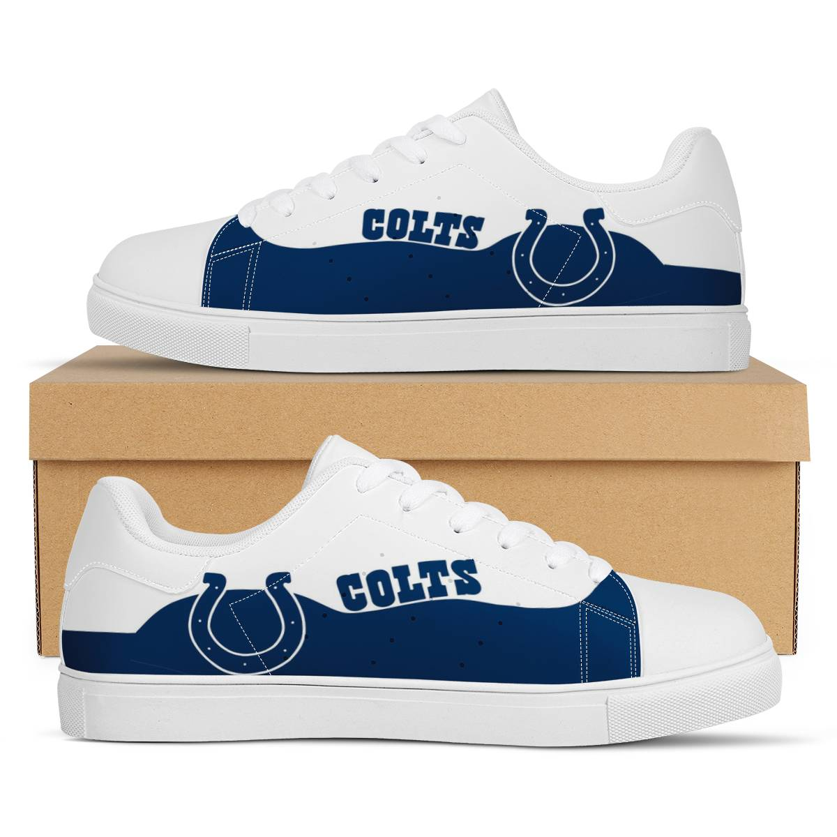 Men's Indianapolis Colts Low Top Leather Sneakers 003