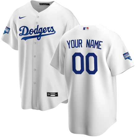Men's Los Angeles Dodgers ACTIVE PLAYER Custom White 2020 World Series Champions Home Patch Stitched Jersey