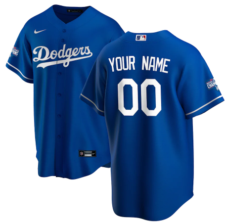 Men's Los Angeles Dodgers ACTIVE PLAYER Custom Royal 2020 World Series Champions Home Patch Stitched Jersey