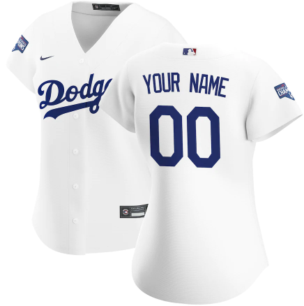Women's Los Angeles Dodgers ACTIVE PLAYER Custom White 2020 World Series Champions Home Patch Stitched Jersey