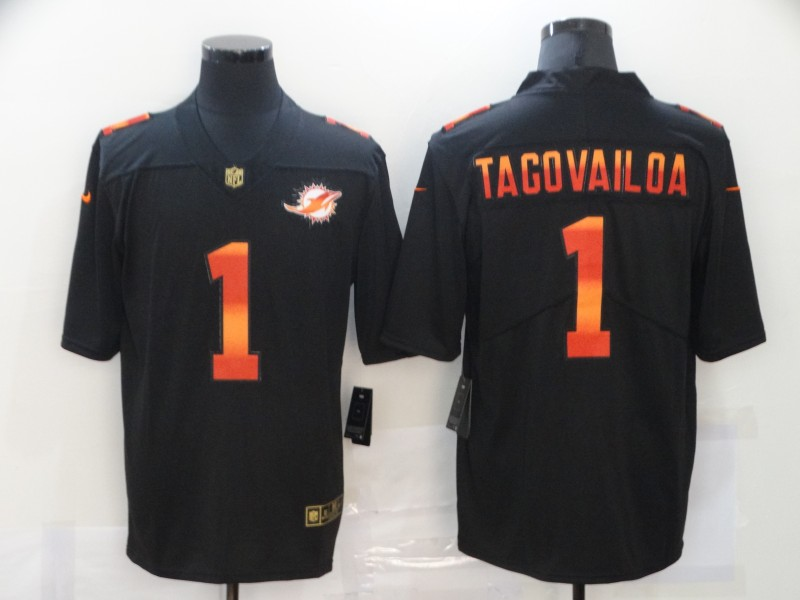 Men's Miami Dolphins #1 Tua Tagovailoa Black Fashion Limited Stitched NFL Jersey