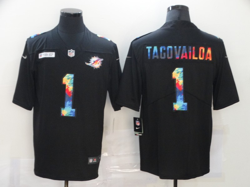 Men's Miami Dolphins #1 Tua Tagovailoa 2020 Black Crucial Catch Limited Stitched Jersey