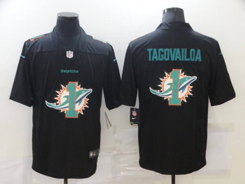 Men's Miami Dolphins #1 Tua Tagovailoa Black Shadow Logo Limited Stitched Jersey
