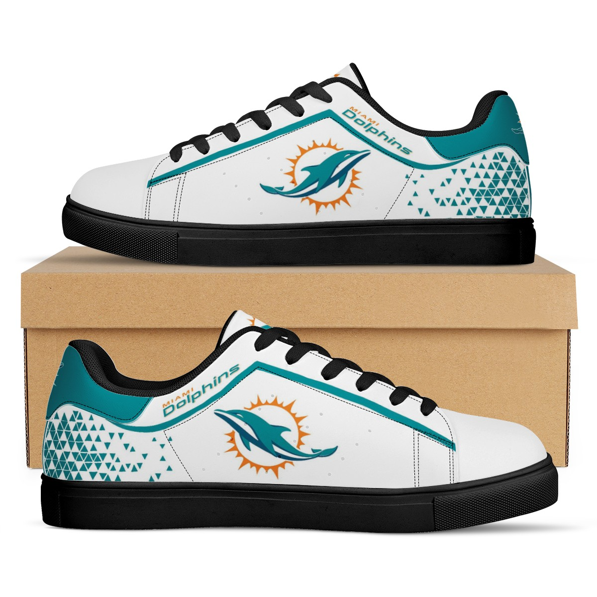 Men's Miami Dolphins Low Top Leather Sneakers 001