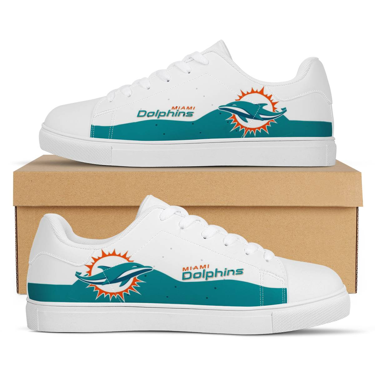 Men's Miami Dolphins Low Top Leather Sneakers 003