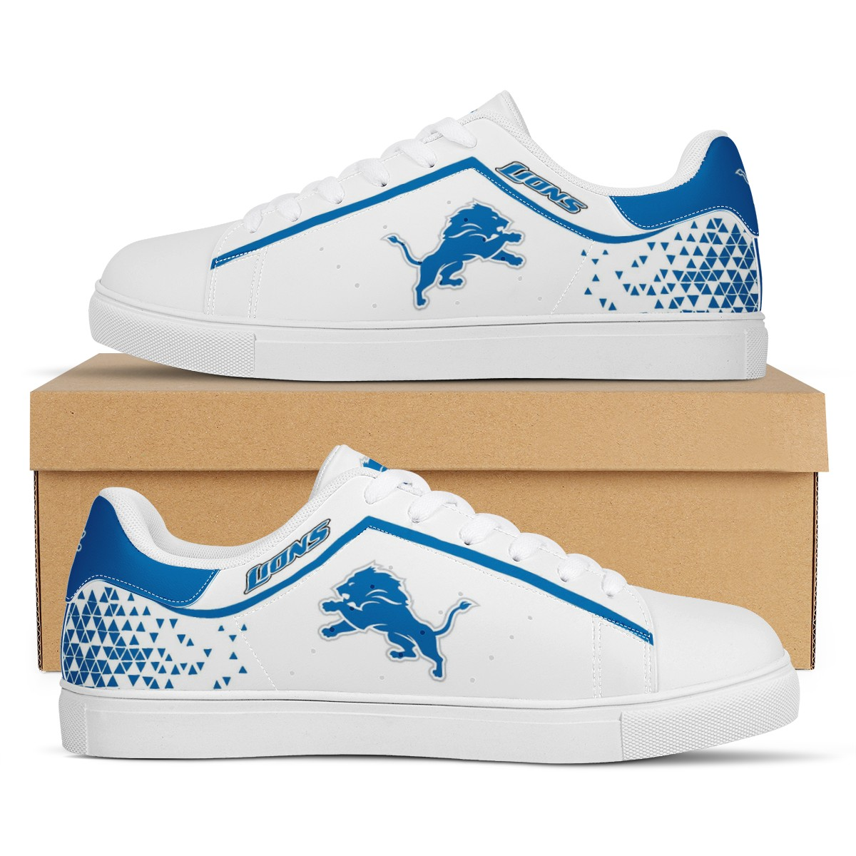 Women's Detroit Lions Low Top Leather Sneakers 002