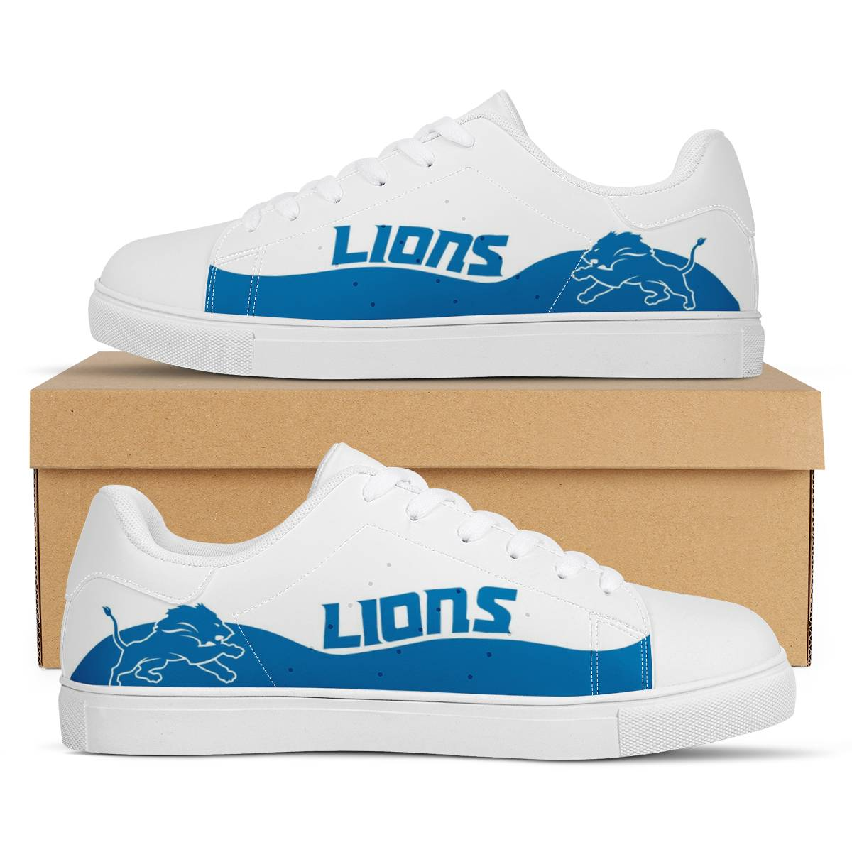 Women's Detroit Lions Low Top Leather Sneakers 003