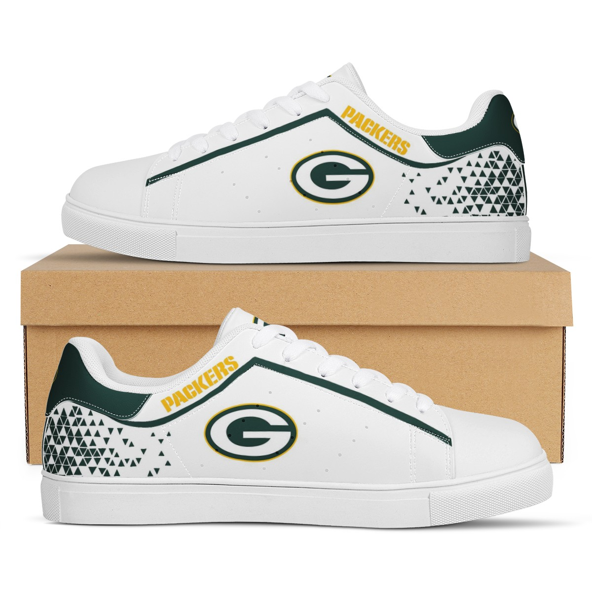 Women's Green Bay Packers Low Top Leather Sneakers 002