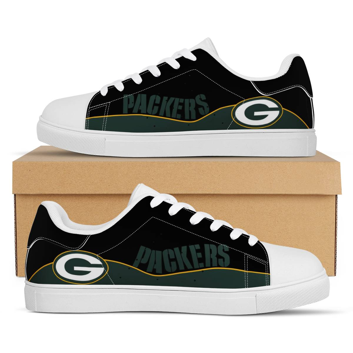 Men's Green Bay Packers Low Top Leather Sneakers 003