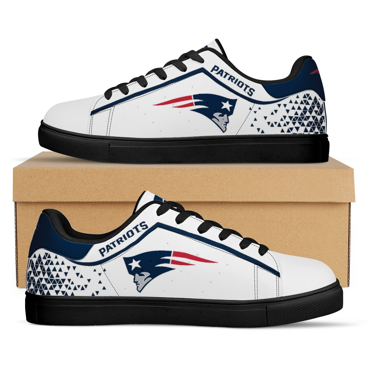Women's New England Patriots Low Top Leather Sneakers 002