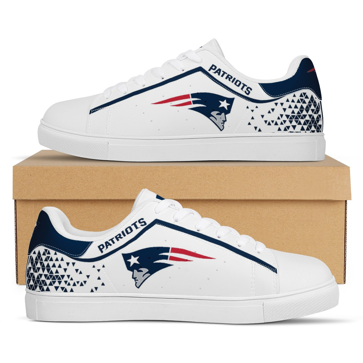 Women's New England Patriots Low Top Leather Sneakers 003