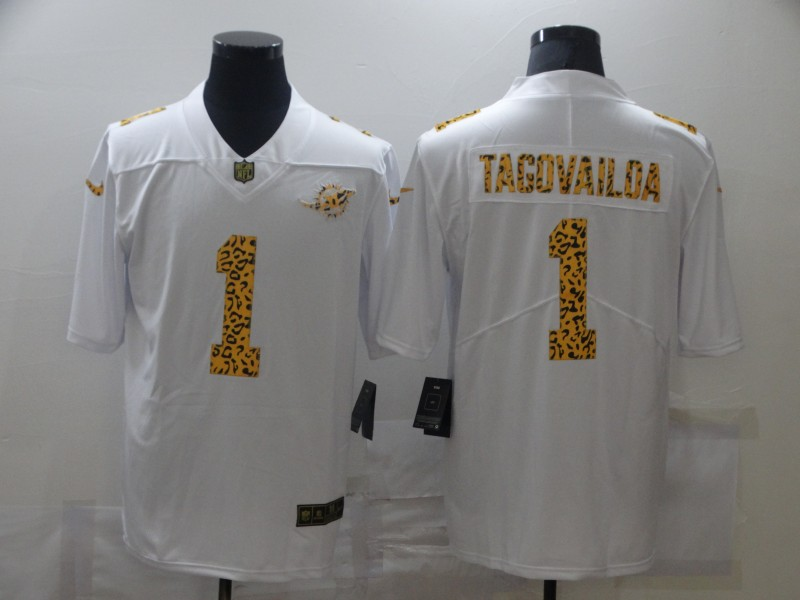 Men's Miami Dolphins #1 Tua Tagovailoa 2020 White Leopard Print Fashion Limited Stitched Jersey