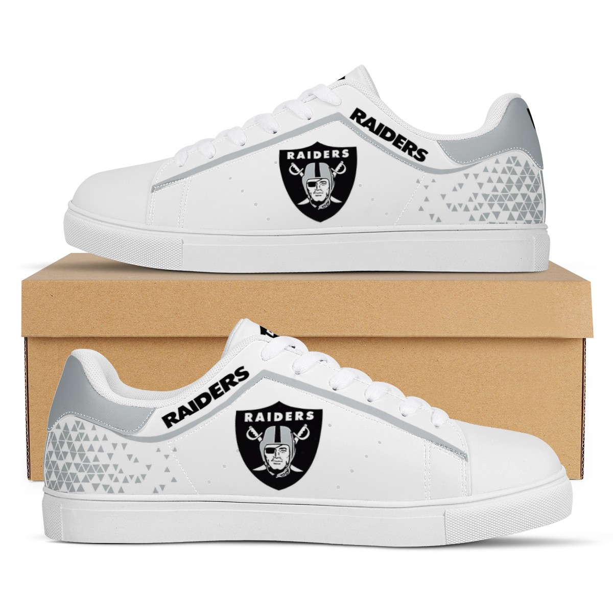 Women's Las Vegas Raiders Low Top Leather Sneakers 002