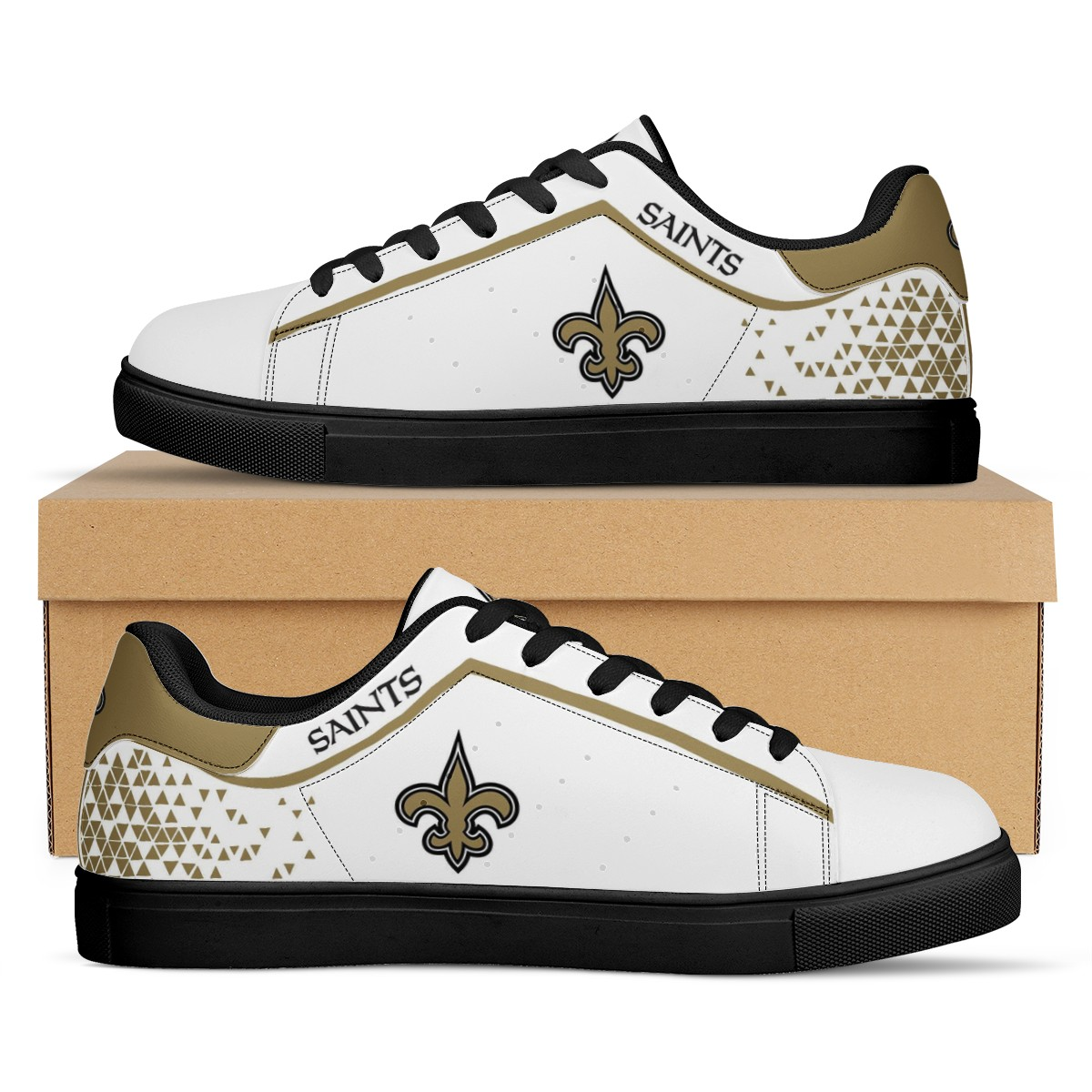 Women's New Orleans Saints Low Top Leather Sneakers 002
