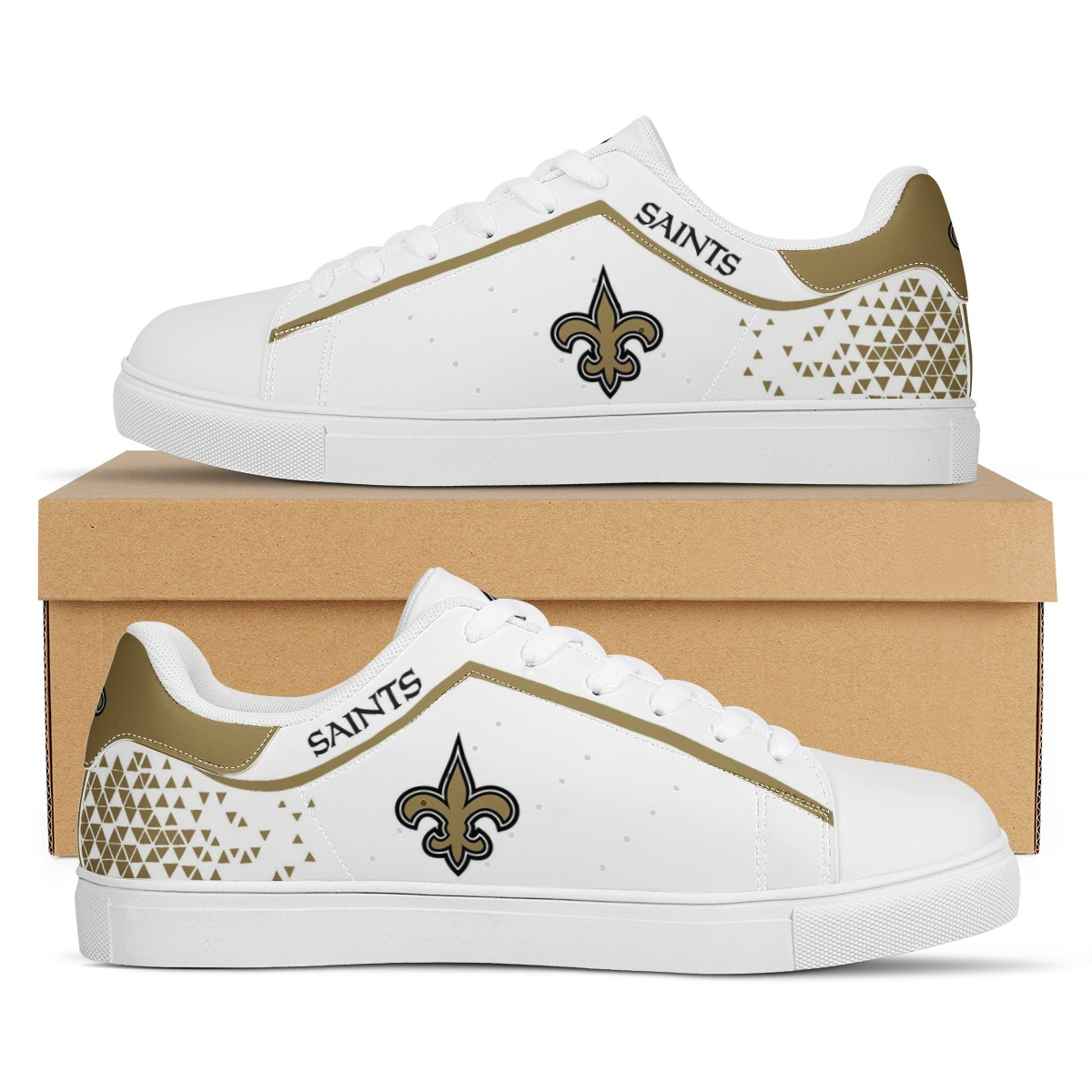 Women's New Orleans Saints Low Top Leather Sneakers 003