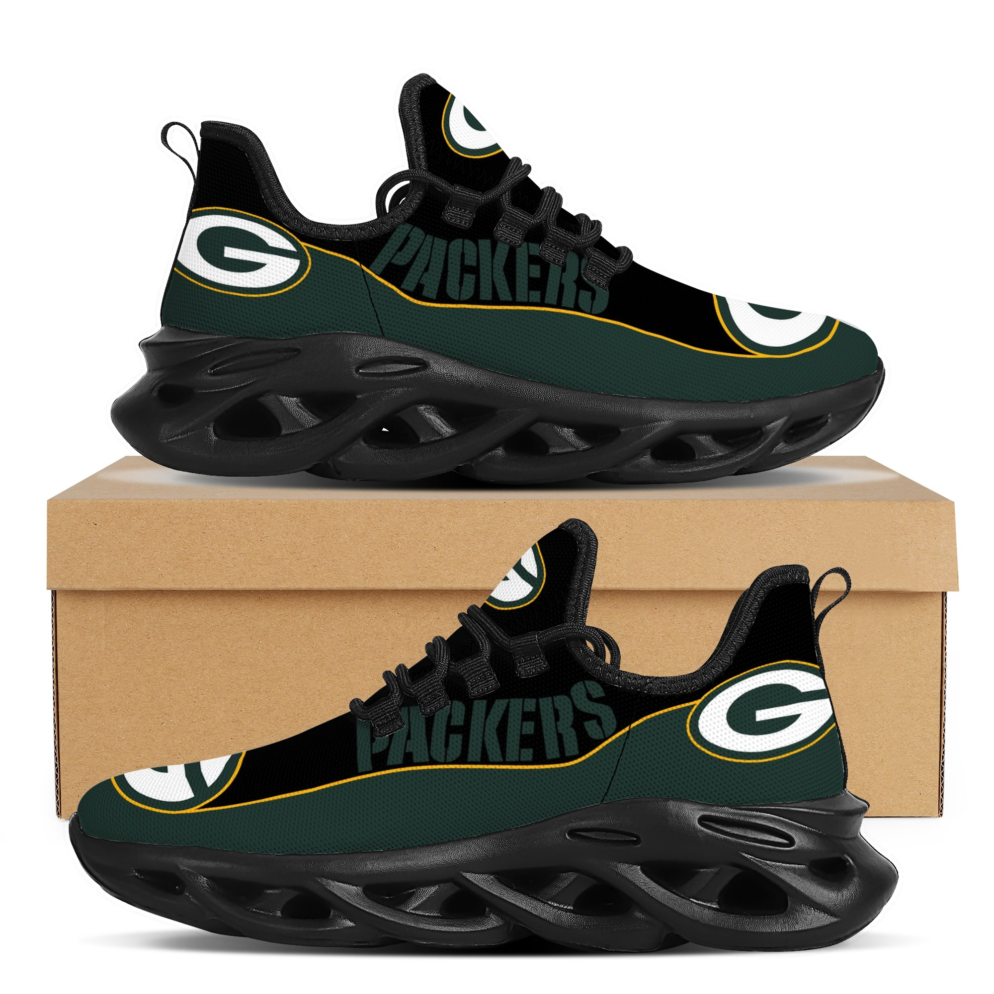 Men's Green Bay Packers Flex Control Sneakers 001