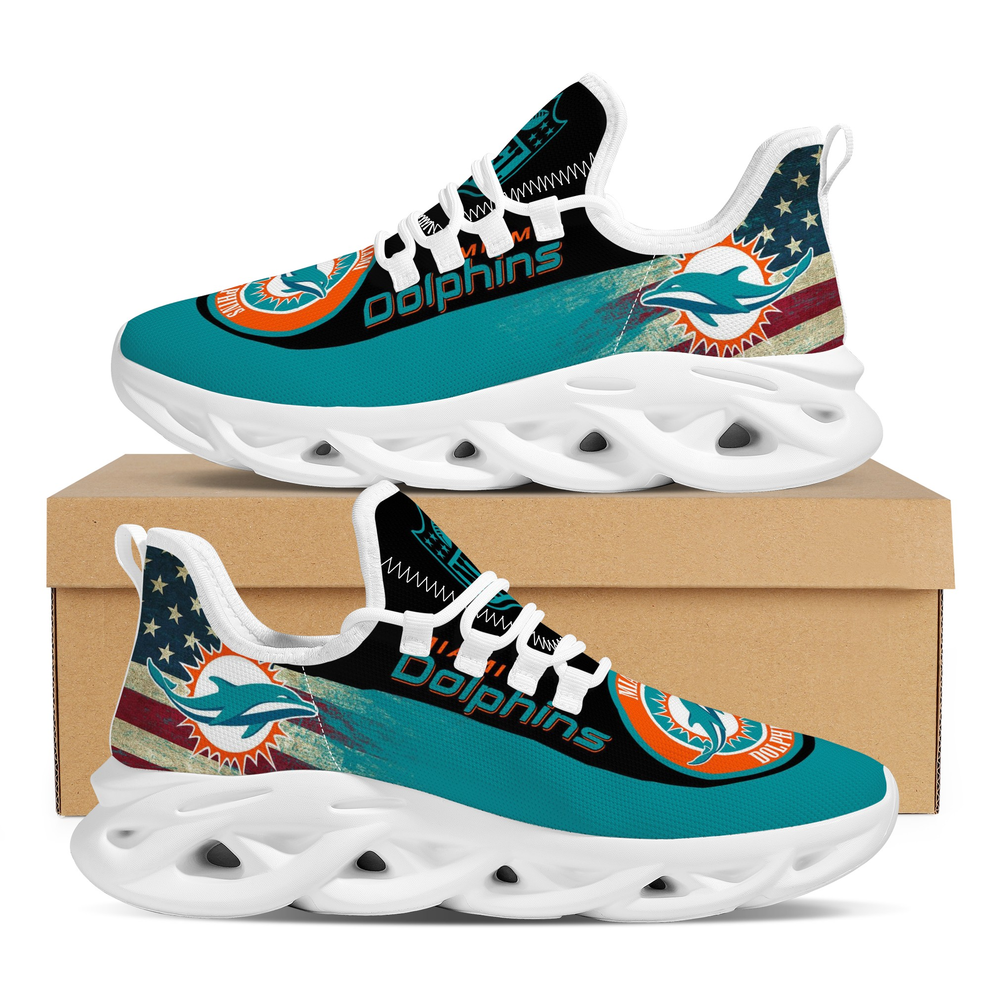 Men's Miami Dolphins Flex Control Sneakers 004