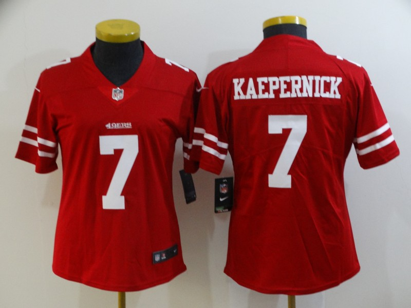 Women's NFL San Francisco 49ers #7 Colin Kaepernick Red Vapor Untouchable Limited Stitched Jersey(Run Small)