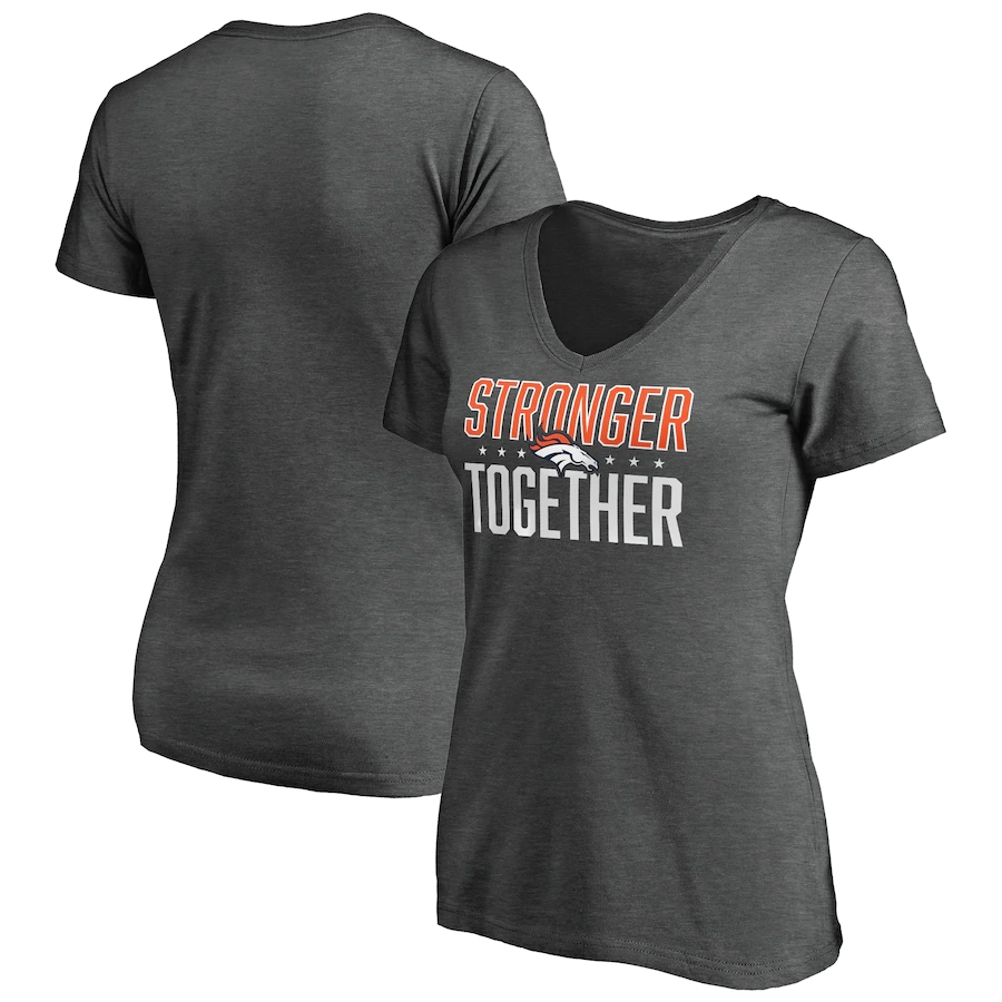 Women's Denver Broncos Heather Stronger Together Space Dye V-Neck T-Shirt(Run Small)