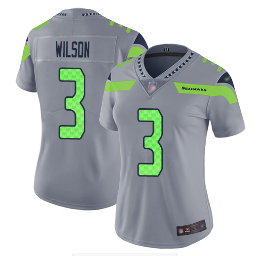 Women's Seattle Seahawks #3 Russell Wilson Gray Inverted Legend Stitched NFL Jersey(Run Small)