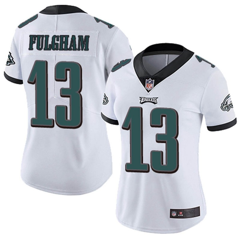 Women's Philadelphia Eagles #13 Travis Fulgham White Vapor Untouchable Limited Stitched NFL Jersey(Run Small)