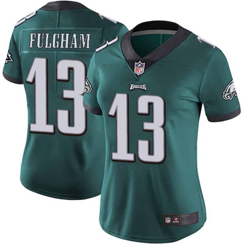 Women's Philadelphia Eagles #13 Travis Fulgham Green Vapor Untouchable Limited Stitched NFL Jersey(Run Small)