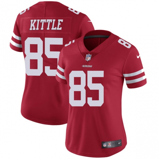 Women's NFL San Francisco 49ers #85 George Kittle Red Vapor Untouchable Limited Stitched Jersey(Run Small)