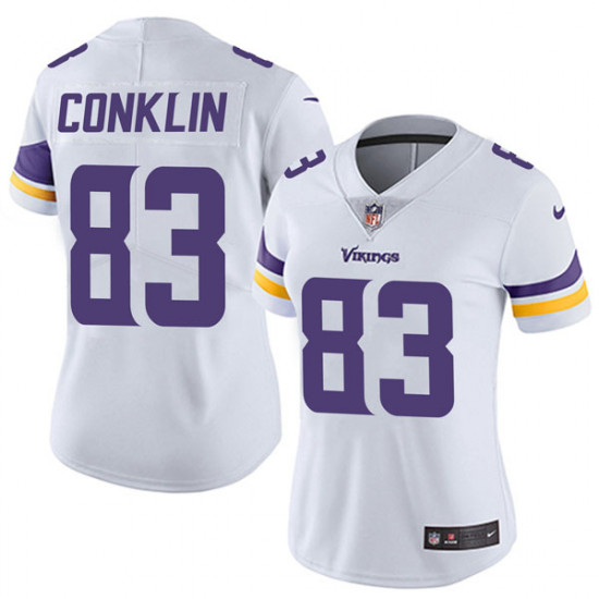 Women's Minnesota Vikings #83 Tyler Conklin White Vapor Untouchable Limited Stitched NFL Jersey(Run Small)