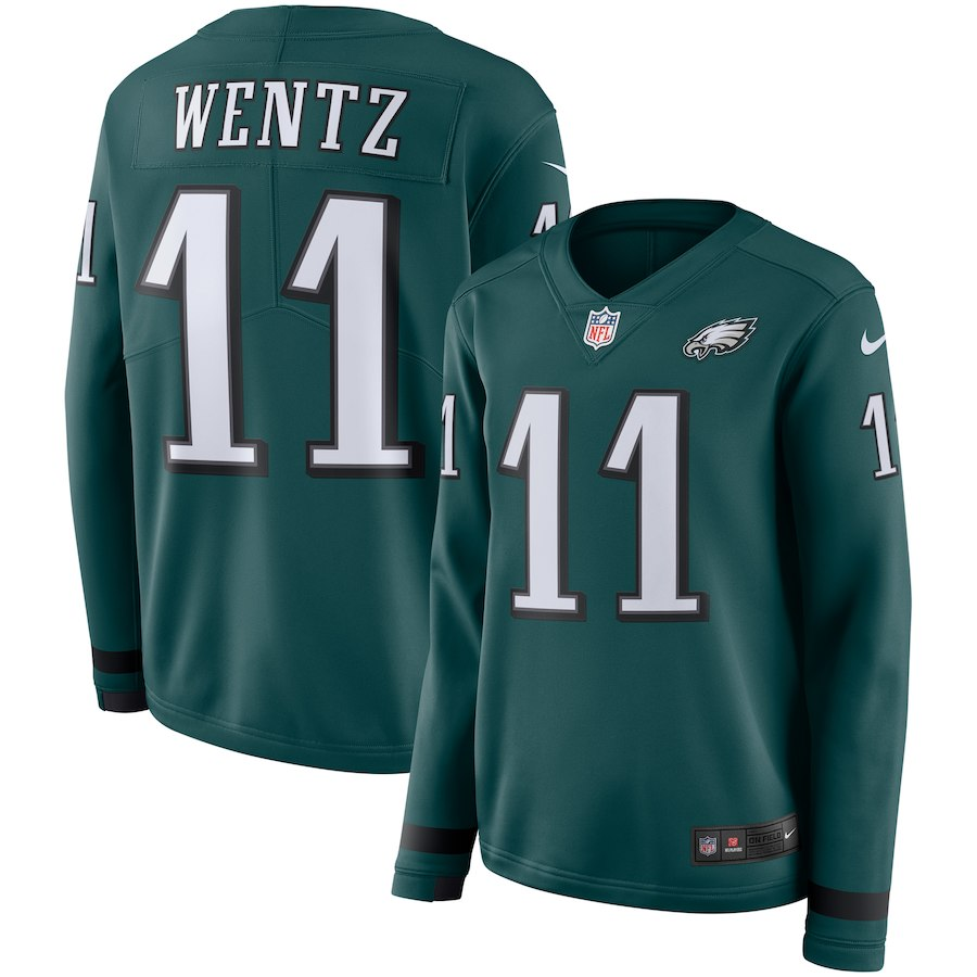 Women's Philadelphia Eagles #11 Carson Wentz Green Therma Long Sleeve Stitched NFL Jersey