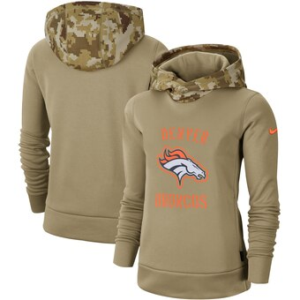 Women's Denver Broncos Khaki 2019 Salute to Service Therma Pullover Hoodie(Run Small)