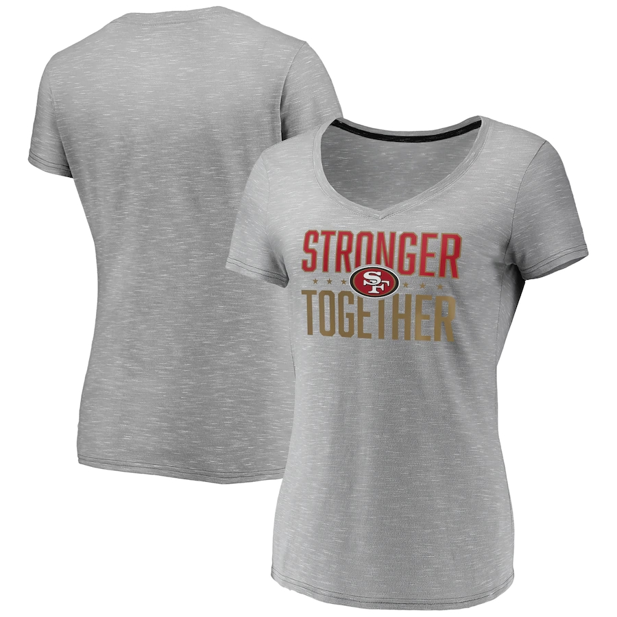 Women's San Francisco 49ers Gray Stronger Together Space Dye V-Neck T-Shirt(Run Small)