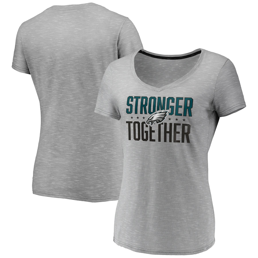 Women's Philadelphia Eagles Gray Stronger Together Space Dye V-Neck T-Shirt(Run Small)