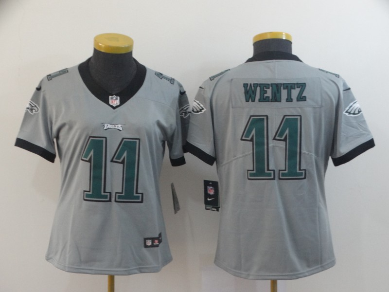 Women's Philadelphia Eagles #11 Carson Wentz Silver Inverted Legend Stitched NFL Jersey