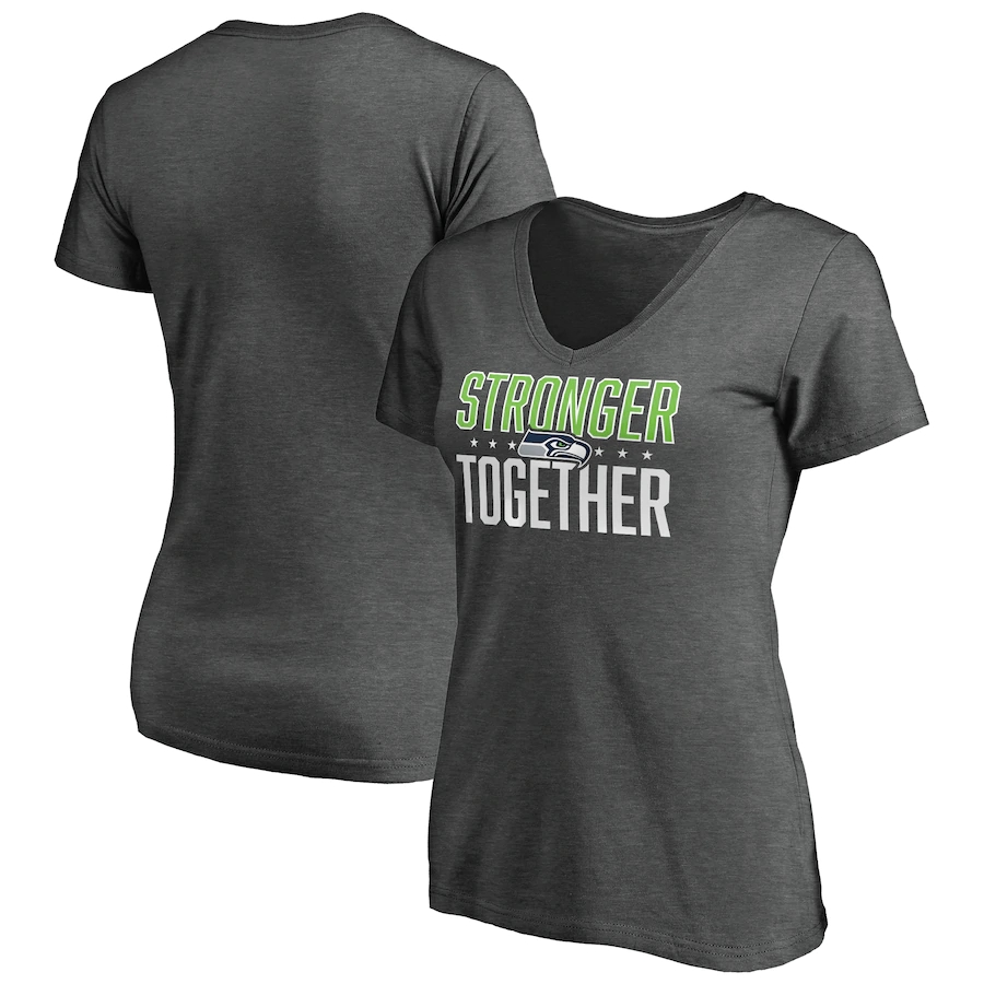 Women's Seattle Seahawks Heather Stronger Together Space Dye V-Neck T-Shirt(Run Small)