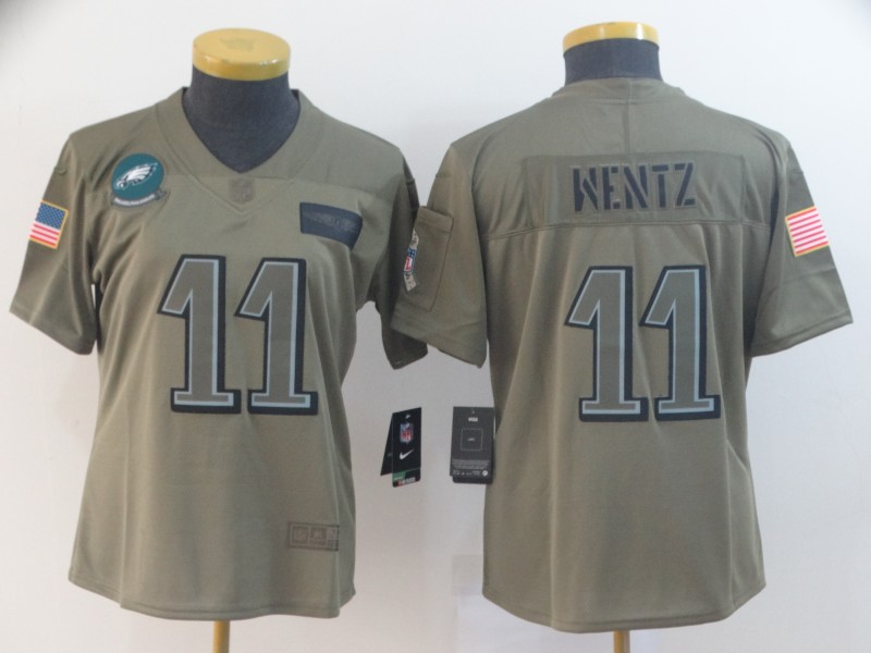 Women's Philadelphia Eagles #11 Carson Wentz 2019 Camo Salute To Service Limited Stitched NFL Jersey(Run Small)