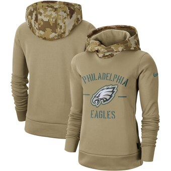 Women's Philadelphia Eagles Khaki 2019 Salute to Service Therma Pullover Hoodie(Run Small)