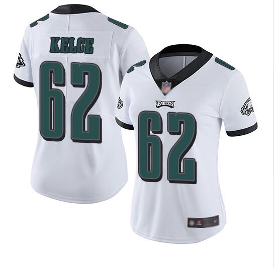 Women's Philadelphia Eagles #62 Jason Kelce White Vapor Untouchable Limited Stitched NFL Jersey(Run Small)
