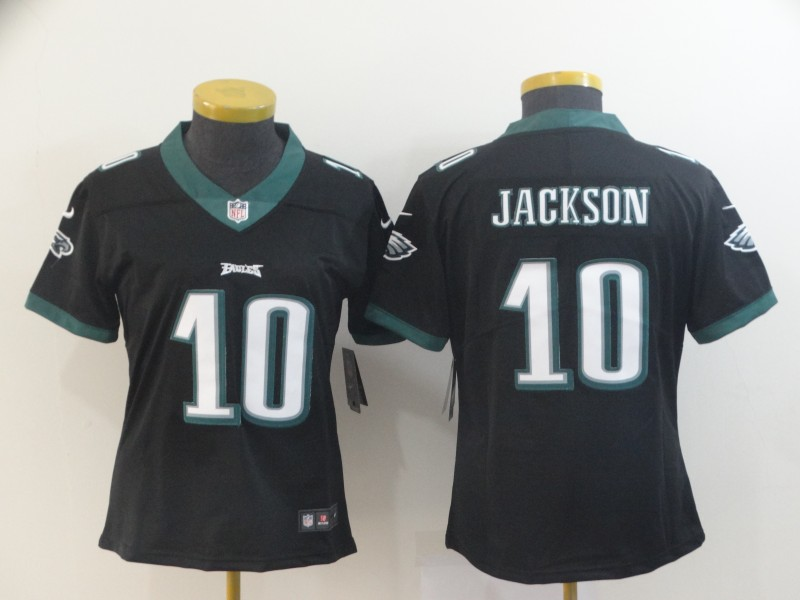 Women's Philadelphia Eagles #10 DeSean Jackson Black Vapor Untouchable LimitedStitched NFL Jersey(Run Small)